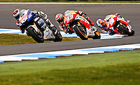 Yamaha MotoGP rider Jorge Lorenzo of Spain leads the 2013 Australian Motorcycle Grand Prix in Phillip Island, Oct 20, 2013. Photo by Daniel Munoz/VIEWpress IMAGE RESTRICTED TO EDITORIAL USE ONLY- STRICTLY NO COMMERCIAL USE.