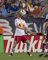 New York Red Bulls defender Tim Ream (5) traps the ball. In a Major League Soccer (MLS) match, the New England Revolution tied New York Red Bulls, 2-2, at Gillette Stadium on August 20, 2011.