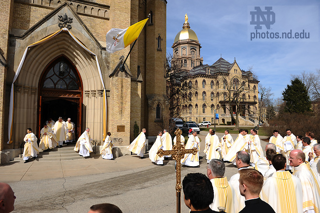 Holy Cross Priests exit the Basilica after ordination mass, March 2008.