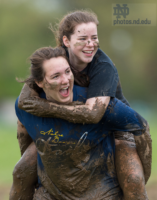 April 30, 2017; Students participate in Muddy Sunday, a volleyball tournament played in the mud at White Fields in support of Habitat for Humanity.  (Photo by Barbara Johnston/University of Notre Dame)