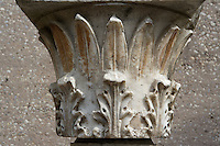 CORINTH, GREECE - APRIL 16 : A detail of a Corinthian capital, on 16 April 2007 in Corinth, Greece. Corinth, founded in Neolithic times, was a major Ancient Greek city, until it was razed by the Romans in 146 BC. Rebuilt a century later it was destroyed by an earthquake in Byzantine times. (Photo by Manuel Cohen)