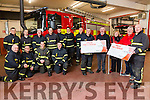Tralee Fire Station Personnel raise over €5,000 for 2 charities Pictured Brian McKivergan presented a cheque to Dan Galvin, Kerry Hospice and Tommy Kelliher presented a cheque to  Ann and Henry Burrows,   MS Kerry Branch with Crew members Back l-r John O'Donnell, Nigel Corner, Simon Dittrich, Trevor Kelliher, Pj O'Dowd, John O'Donnell, Sean Hegarty, Nathan Tadier, Paul Rusk, David Hogan, Seamus Sheehan,