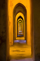 Walkway within the underground bath that is situated underneath  the palace in Seville, Spain.