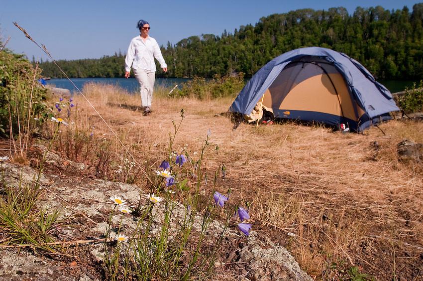 Tent camping at Isle Royale National Park.