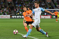 Melbourne, 3 December 2016 - CONNOR CHAPMAN (4) of Melbourne City kicks the ball in the round 9 match of the A-League between Melbourne City and Brisbane Roar at AAMI Park, Melbourne, Australia. Melbourne drew with Brisbane 1-1 (Photo Sydney Low / sydlow.com)