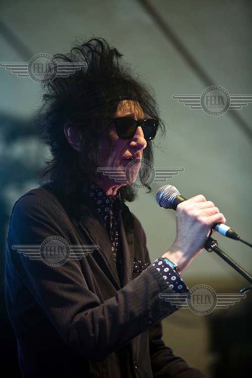 John Cooper Clarke performs at the Standon Calling Festival in Hertfordshire, UK..Standon Calling is a small independent festival set among the hills in Herfordshire that showcases World Music, Indie Music and Dance Music. It is one of the new, small and quirky boutique festivals which have become popular in the UK.....