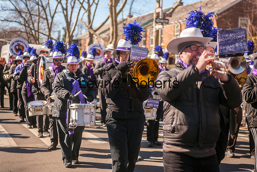 """Lesbian and Gay Big Apple Corp marching band in the Sunnyside, Queens St. Patrick's Parade on March 5, 2017. Billed as """"St. Pat's For All"""" the festive event started as an alternative to the New York parade, and organizers have endeavored to make the parade inclusive allowing gays and lesbians to march who were banned from the New York parade. (© Richard B. Levine)"""