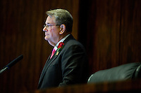 TALLAHASSEE, FLA. 3/5/13-OPENING030513CH-Senate President Don Gaetz, R-Niceville, listens during discussion of the ethics reform bill on the opening day of the 2013 legislative session Tuesday at the Capitol in Tallahassee, Fla...COLIN HACKLEY PHOTO