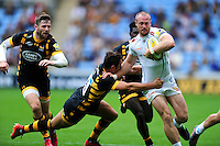 James Short of Exeter Chiefs takes on the Wasps defence. Aviva Premiership match, between Wasps and Exeter Chiefs on September 4, 2016 at the Ricoh Arena in Coventry, England. Photo by: Patrick Khachfe / JMP
