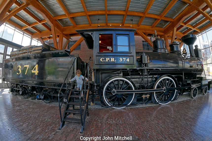 Fisheye view of a the restored CPR Engine 374 at the Roundhouse in Yaletown, Vancouver, British Columbia, Canada.