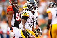 DeAngelo Williams #34 of the Pittsburgh Steelers reacts following his fourth quarter touchdown against the Cincinnati Bengals during the game at Paul Brown Stadium on December 12, 2015 in Cincinnati, Ohio. (Photo by Jared Wickerham/DKPittsburghSports)