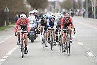 Tiesj Benoot (BEL/Lotto-Soudal) pacing the breakaway group that also includes Peter Sagan (SVK/Bora-Hansgrohe), Jasper Stuyven (BEL/Trek-Segafredo),  Matteo Trentin (ITA/QuickStep) &amp; Luke Row (GBR/Team Sky)<br /> <br /> 69th Kuurne-Brussel-Kuurne 2017 (1.HC)