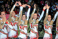 September 24, 2011; Montpellier, France;  Italian group receives news they win the gold in groups all around final at 2011 World Championships.