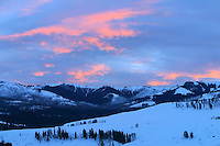 The sun sets on a very crisp winter evening in the Lamar Valley, Yellowstone National Park.