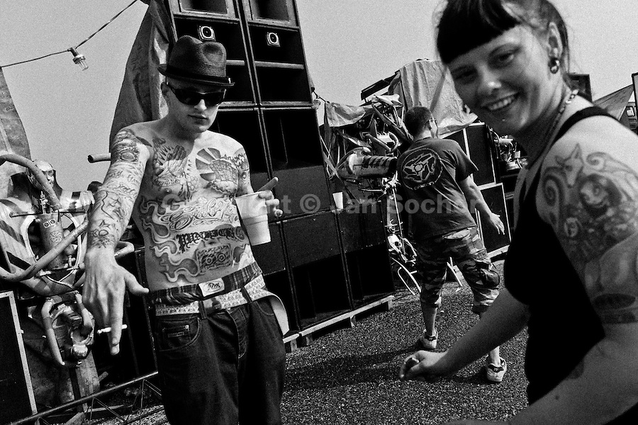 """Young people dance in front of the speakers of a Sound System at Czech Free Tekno Festival """"Czarotek"""" close to Kv?tná, Czech Republic, 1 May 2009."""