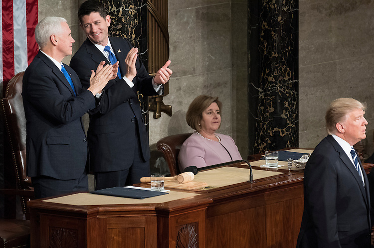 UNITED STATES - FEBRUARY 28: Vice President Mike Pence and Speaker of the House Paul Ryan, R-Wisc., clap as President Donald Trump delivers his address to a joint session of Congress on Tuesday, Feb. 28, 2017. (Photo By Bill Clark/CQ Roll Call)