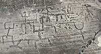 """Petroglyph, rock carving, of a large group of schematic human figures in the so called """"Prayer"""" position. Carved by the ancient Camunni people in the Late Copper Age between 3200- 2200 BC. Rock no 24,  Foppi di Nadro, Riserva Naturale Incisioni Rupestri di Ceto, Cimbergo e Paspardo, Capo di Ponti, Valcamonica (Val Camonica), Lombardy plain, Italy"""