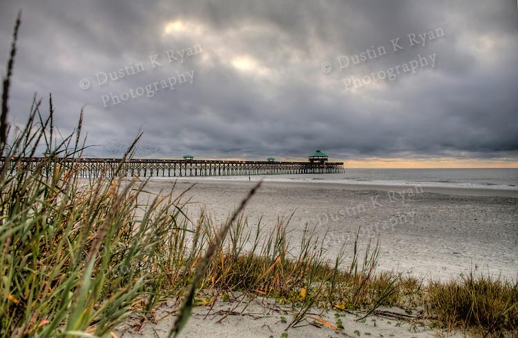 Folly Beach Pier Sunrise South Carolina Clouds Water Ocean Atlantic