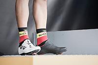 The black/white Philippe Gilbert (BEL/Quick Step floors) shoe combo rocks the podium<br /> <br /> 72nd Dwars Door Vlaanderen (1.UWT)<br /> 1day race: Roeselare &rsaquo; Waregem BEL (203.4km)