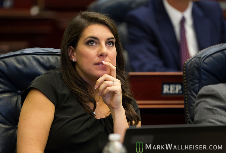 Rep. Jennifer Sullivan, R- Mount Dora, listens during Florida House of Representatives floor debate at the Florida Capitol in Tallahassee, Florida.