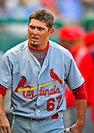 1 March 2009: St. Louis Cardinals' shortstop Tyler Greene returns to the dugout during a Spring Training game against the Florida Marlins at Roger Dean Stadium in Jupiter, Florida. The Cardinals outhit the Marlins 20-13 resulting in a 14-10 win for the Cards. Mandatory Photo Credit: Ed Wolfstein Photo