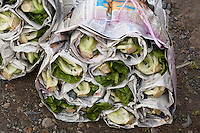 Bundle of Lettuce wrapped in newspaper at a  market in Ranau, Sabah