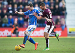 Hearts v St Johnstone&hellip;19.03.16  Tynecastle, Edinburgh<br />Chris Kane holds off Perry Kitchen<br />Picture by Graeme Hart.<br />Copyright Perthshire Picture Agency<br />Tel: 01738 623350  Mobile: 07990 594431