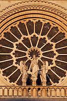 Large rose, 9.60 m in diameter, circa 1225, centre of the West façade, forming a halo above a statue of the Virgin with Child between two angels, Notre Dame de Paris, 1163 ? 1345, initiated by the bishop Maurice de Sully, Ile de la Cité, Paris, France. Picture by Manuel Cohen