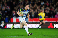 Chris Cook of Bath Rugby runs in a try in the first half. Aviva Premiership match, between Gloucester Rugby and Bath Rugby on March 26, 2016 at Kingsholm Stadium in Gloucester, England. Photo by: Patrick Khachfe / Onside Images
