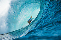 Namotu Island Resort, Namotu, Fiji. (Thursday May 29, 2014) Tatiana Weston-Webb (HAW) pulling into a cazy barrel with a GoPro in her mouth during the Expression Session held before the final.–  The Fiji Women's Pro, Stop No. 5 of 10 on the 2014  Women's World Championship Tour (WCT) was won today by Australian Sally Fitzgibbons who defeated five times World Surfing Champion Stephanie Gilmore (AUS) in the 35 minute final. The last day of the event was held at Cloudbreak in solid 6'-8' surf, possibly the largest surf an Women's World Tour event ah ever been run. The final day saw the remaining heats of Round 4 completed then right through to the final. Photo: joliphotos.com