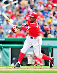 26 September 2010: Washington Nationals outfielder Nyjer Morgan in action against the Atlanta Braves at Nationals Park in Washington, DC. The Nationals defeated the pennant-seeking Braves 4-2 to take the rubber match of their 3-game series. Mandatory Credit: Ed Wolfstein Photo