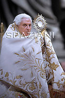 Pope Benedict XVI  celebrates the Vespers and Te Deum prayers in Saint Peter's Basilica at the Vatican on December 31, 2009