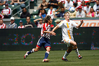 20 May 2007:  Galaxy Ty Harden controls the soccer ball infront of Francisco Mendoza during a 1-1 tie for MLS Chivas USA vs. Los Angeles Galaxy pro soccer teams at the Home Depot Center in Carson, CA.
