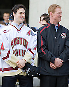 Matt Lombardi (BC - 24), Greg Brown (BC - Assistant Coach) - Boston College celebrated the men's hockey team's victory at the 2010 Frozen Four, their second national championship in three years.  The team traveled through the campus by trolley from Conte Forum to O'Neill Library where a rally was held on the plaza on Monday, April 12, 2010.