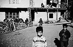 Children outside their home in Shaladrjan Nowshera, north Kashmir