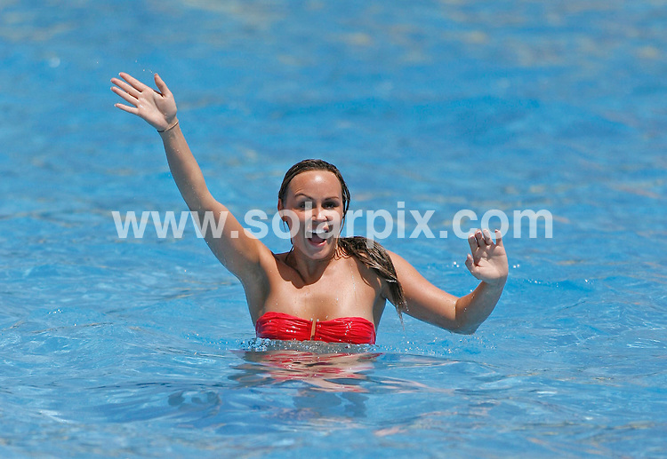 **ALL-ROUND EXCLUSIVE PICTURES FROM SOLARPIX.COM**.**WORLDWIDE SYNDICATION RIGHTS**.Chanelle Hayes pictured here enjoying herself with friends at a water park on the Costa del Sol this week. The ex Big Brother house-mate decided to take a short break to Marbella, to recuperate after trying to end her life after row with her boyfriend Matthew Bates a couple of weeks ago. The group had onlookers drooling as they fooled around in rubber rings..JOB REF:   9254   AB1/SF       DATE:  18.08.09.**MUST CREDIT SOLARPIX.COM OR DOUBLE FEE WILL BE CHARGED**.**MUST AGREE FEE BEFORE ONLINE USAGE**.**CALL US ON: +34 952 811 768 or LOW RATE FROM UK 0844 617 7637**