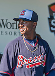 21 March 2015: Atlanta Braves infielder Ozhaino Albies prepares for a Spring Training Split Squad game against the Washington Nationals at Champion Stadium at the ESPN Wide World of Sports Complex in Kissimmee, Florida. The Braves defeated the Nationals 5-2 in Grapefruit League play. Mandatory Credit: Ed Wolfstein Photo *** RAW (NEF) Image File Available ***