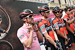 Actor and racing driver Patrick Dempsey guest of BMC Racing Team before the start of Stage 7 of the 100th edition of the Giro d'Italia 2017, running 224km from Castrovillari to Alberobello, Italy. 12th May 2017.<br /> Picture: LaPresse/Gian Mattia D'Alberto | Cyclefile<br /> <br /> <br /> All photos usage must carry mandatory copyright credit (&copy; Cyclefile | LaPresse/Gian Mattia D'Alberto)
