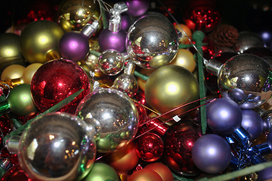 Colorful shiny Christmas ornaments with reflections