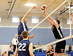 Oxford, CT- 21 April 2017-042117CM11-  Oxford's Will Richter, left, and Shelton's Patrick Devaney go for the ball during their volleyball matchup in Oxford on Friday.       Christopher Massa Republican-American
