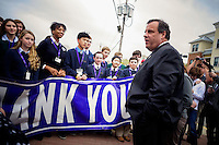 NJ's governor Chris Christie is welcomed by local students while he visited the Jersey shore's reconstruction, marking the second anniversary of Sandy storm in New Jersey. 10.29.2014. Eduardo MunozAlvarez/VIEWpress