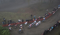the U23 peloton rushing forward after the start<br /> <br /> UCI Cyclocross World Cup Namur/Belgium 2016