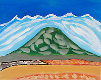 Don't go looking for this mountain. It existed only in my imagination and now on this canvas. <br /> <br /> The snow capped mountains were inspired by the Whitefish Range in Montana.<br /> <br /> The foreground was inspired by hay fields.<br /> <br /> 11 x 14 canvas board