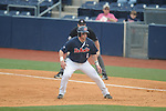 Ole Miss' Preston Overbey (1) takes a lead vs. Lipscomb at Oxford-University Stadium in Oxford, Miss. on Saturday, March 9, 2013. Ole Miss won 8-5. The win was the 486th for Mike Bianco as the Rebel head coach, making him the university's all time winningest baseball coach.