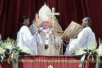 Pope Benedict XVI during the Sunday Easter mass 'Urbi et Orbi' (to the city and the world) benediction in Saint Peter's Square at the Vatican.. April 8, 2012... .