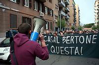 Roma 24 Marzo 2012.Conferenza stampa ai Magazzini popolari e corteo antifascista a Casalbertone dopo l'aggressione  di ieri da parte di militanti di Casa Pound..