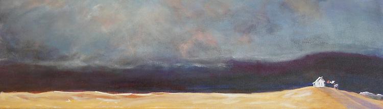 Dawn Goss acrylic painting, small house against big sky wind blowing laundry on line.