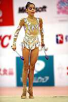 Filipa Siderova of Bulgaria...moment with clubs at 2006 Aeon Cup Worldwide Club Championships in rhythmic gymnastics on November 16, 2006.<br />