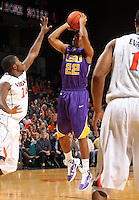 Jan. 2, 2011; Charlottesville, VA, USA; LSU Tigers guard Ralston Turner (22) shoots over Virginia Cavaliers guard K.T. Harrell (24) during the game at the John Paul Jones Arena. Mandatory Credit: Andrew Shurtleff-