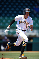 Bradenton Marauders designated hitter Cole Tucker (3) runs to first base during a game against the Charlotte Stone Crabs on April 9, 2017 at LECOM Park in Bradenton, Florida.  Bradenton defeated Charlotte 5-0.  (Mike Janes/Four Seam Images)